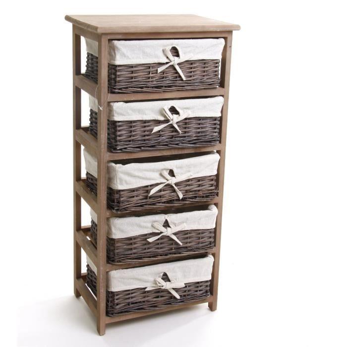 meuble en bois 5 tiroirs paniers en osier avec housses