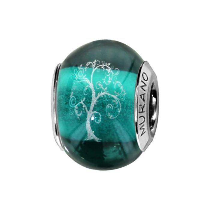 Charms Argent 925 Perle Murano Vert Arbre de Vie
