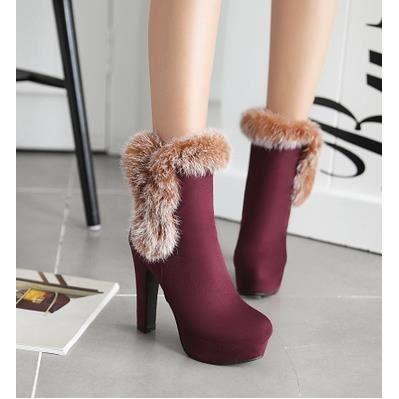 Cuir mat bottes à talons hauts boîte de nuit sexy hiver bottes chaud lapin de fourrure chaussures bottes, rouge 36