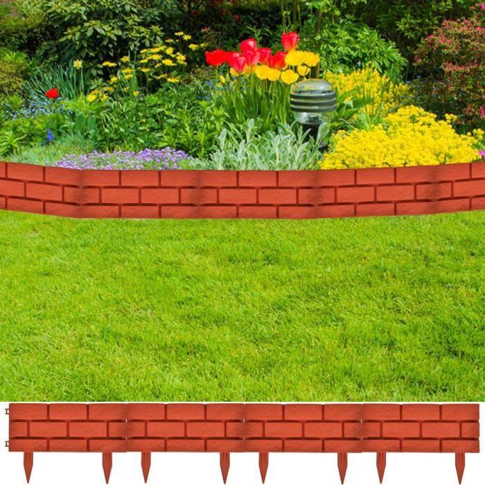 Bordures de jardin imitation brique 11 pi ces achat for Bordure jardin pas cher