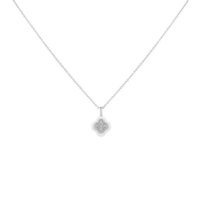 Collier fleur Céramique et argent Ceranity 1-72/0050-B Blanc