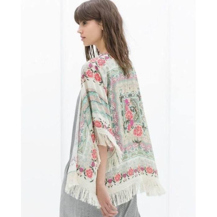 Caftan kimono tunique de plage femme mousseline de soie imprim fleur franges cover up vintage - Tunique de plage femme ...