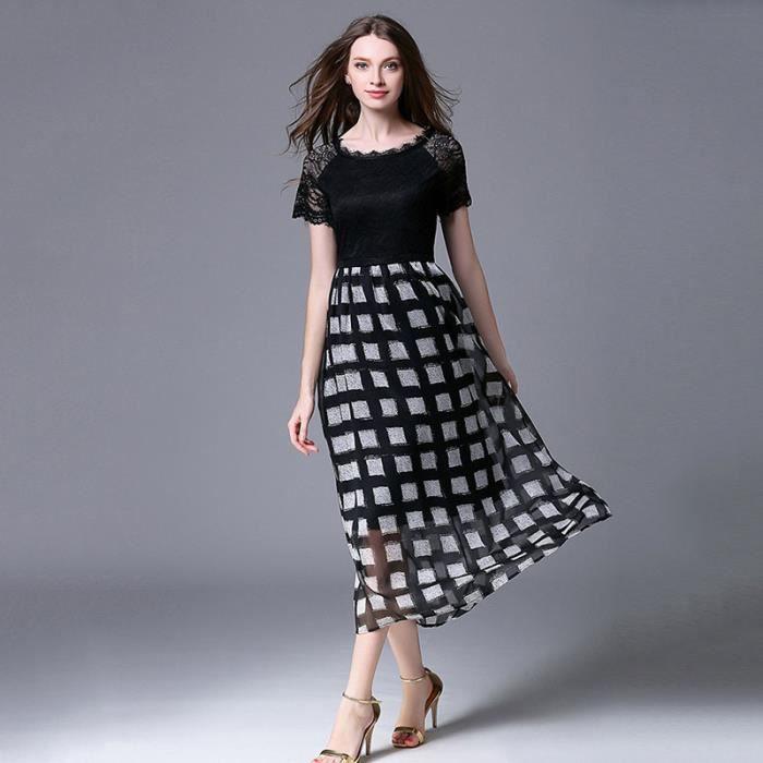 Robe femme à Manches Courtes Dentelle Couture Slim Été et Printemps