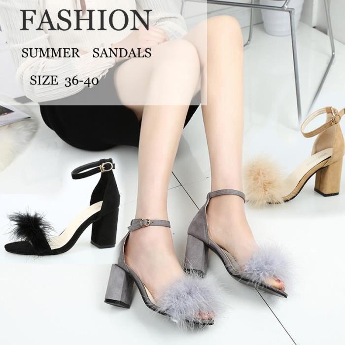 Plumes de mode à talons hauts sandales en peluche creux Chaussures Sexy Summer Femmes