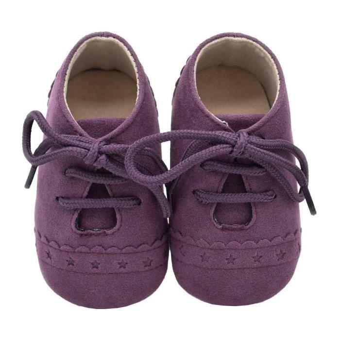 Chaussures Bébé prewalker Casual Nouveau-né Infant Nursery enfant unisexe Violet foncé 12cm