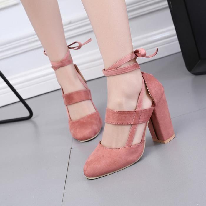 Hotskynie®Femmes partie Suede Strappy épais talons hauts sandales Classique Rose*YSZ71013492PK