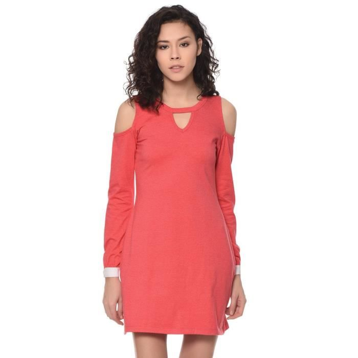Womens Solid Pink Cold Shoulder Dress RXTNX Taille-36