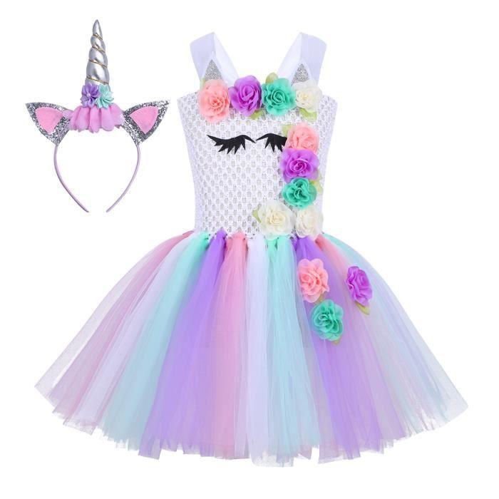 Enfants Filles Déguisement Licorne Costume 3d Fleurs Coloré 2 12 Ans