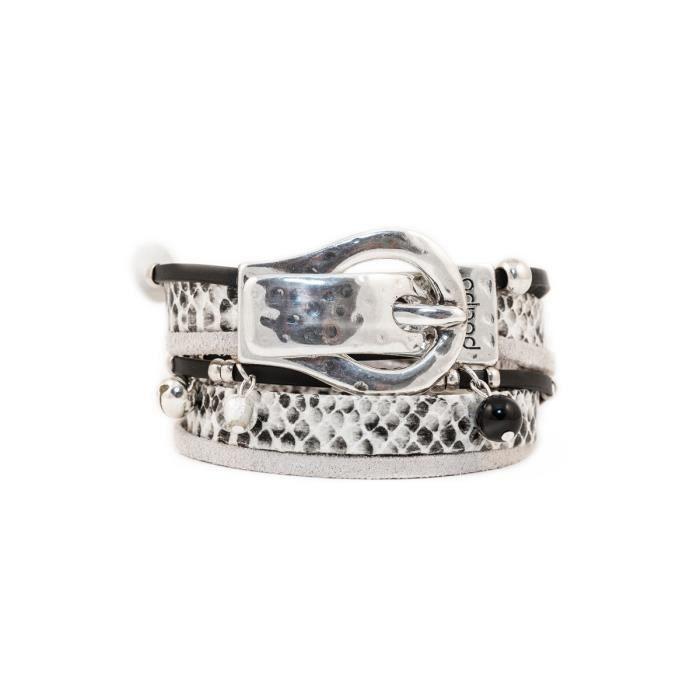 Bracelet avec lanières en cuir et poils Valentin Serpent- Taille : XS - Couleur marketing : Noir