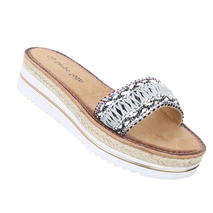 Femme sandales chaussures chaussures de plage chaussures d'été Pantoletten noir gris 41