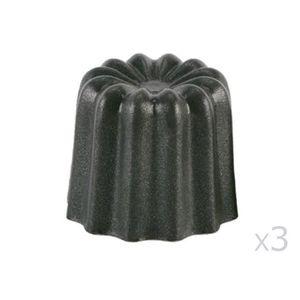 PATISSE 3 moules ? cannelés en aluminium rev?tu - 55 mm