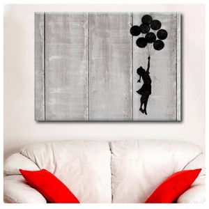 TABLEAU - TOILE Girl With Balloon Flying West Bank Banksy IMPRIMER