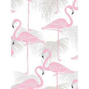 flamant rose et feuilles de palmiers papier peint rose et. Black Bedroom Furniture Sets. Home Design Ideas