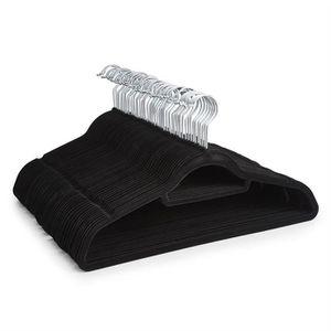CINTRE 50 cintres en velours noir antidérapant avec porte