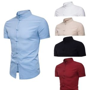 904b40bf75c4b CHEMISE - CHEMISETTE Summer Casual manches courtes Homme Chemise unie H ...
