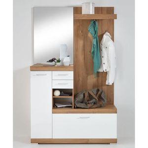 Vestiaire Compact Avec Miroir Coloris Chene Ancien Blanc