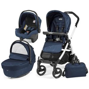 POUSSETTE  TRIO BOOK  PEG PEREGO GEO NAVY (Chassis 51 S Blanc