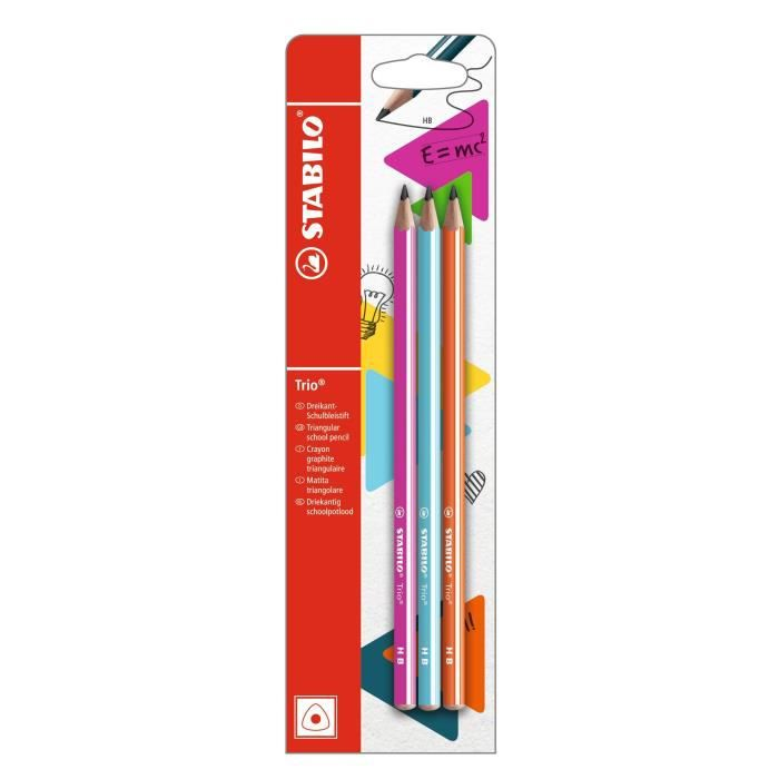 STABILO Trio HB - lot de 3 crayons graphite - bleu clair + rose + orange