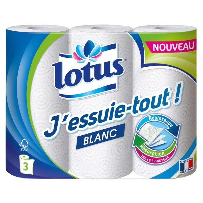 LOTUS Rouleau ménager J'essuie-tout ! - Blanc - 3 Rouleaux