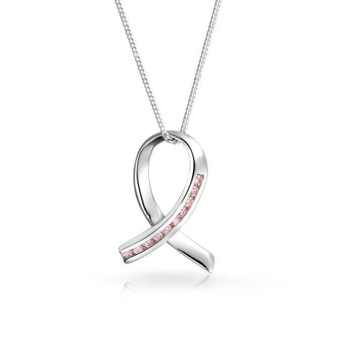Bling Jewelry CZ Pendentif ruban de la sensibilisation au cancer du collier en Argent Sterling 16 pouces