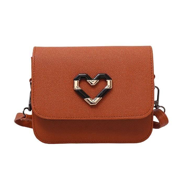Élégant en cuir PU Sac croix de coeur corps sac pour le shopping AUH75