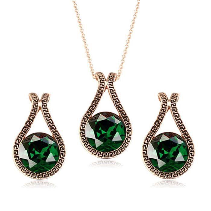 Vintage Unique vert émeraude en cristal Goutte deau des femmes collier pendentif et Boucles doreilles Ensemble de bijoux