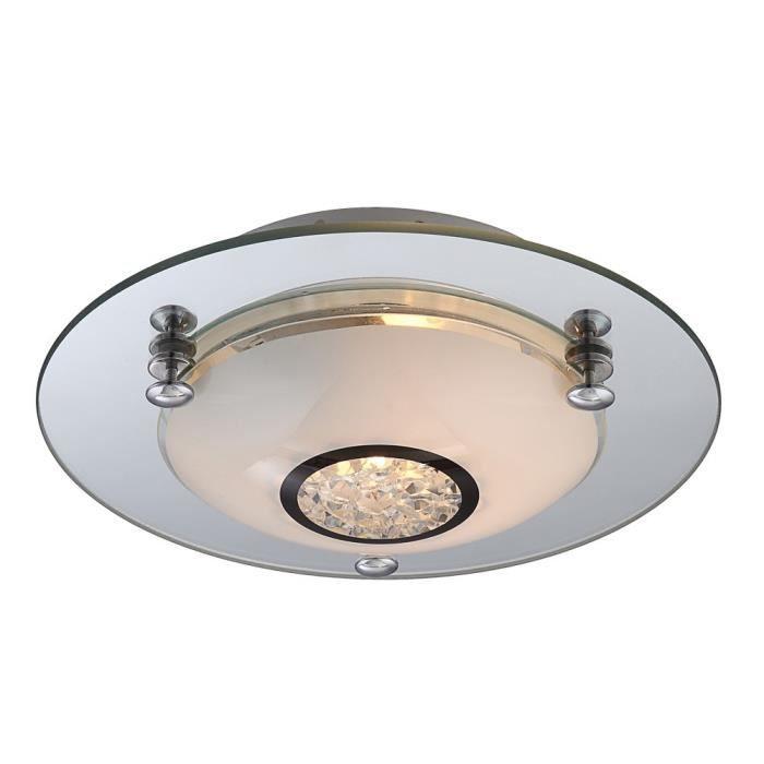 Plafonnier Opale Luminaire Cristaux Éclairage Del Verre 6 Plafond Led Watts Chrome 9EH2DI