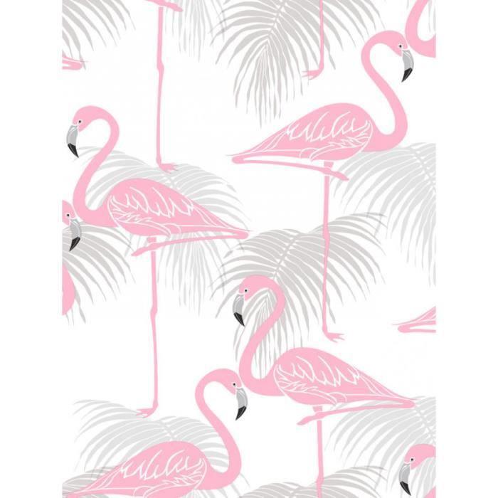 Flamant rose et feuilles de palmiers papier peint rose et gris