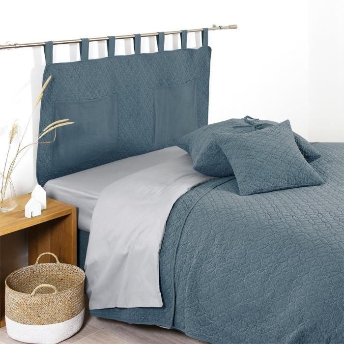 couvre lit jete de lit bleue achat vente couvre lit. Black Bedroom Furniture Sets. Home Design Ideas