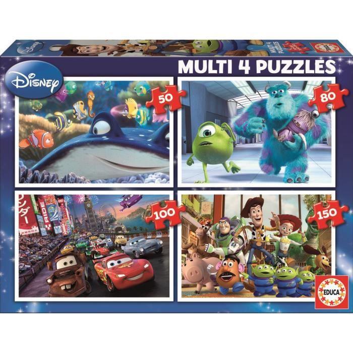 PUZZLE PIXAR Puzzle Multi 4 en 1 : Nemo - Monsters - Cars