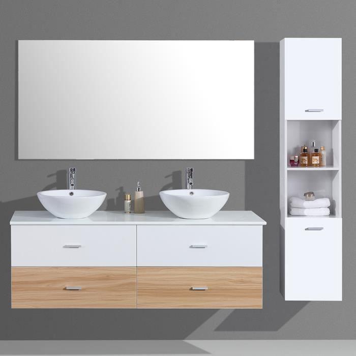 vasque avec colonne Ensemble de salle de bain double vasque avec colonne de rangement bicolore  u2013 Blanc et Bois