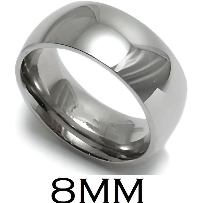 BAGUE ANNEAU ALLIANCE MARIAGE HOMME FEMME ACIER INOXYDABLE MIROIR 8mm