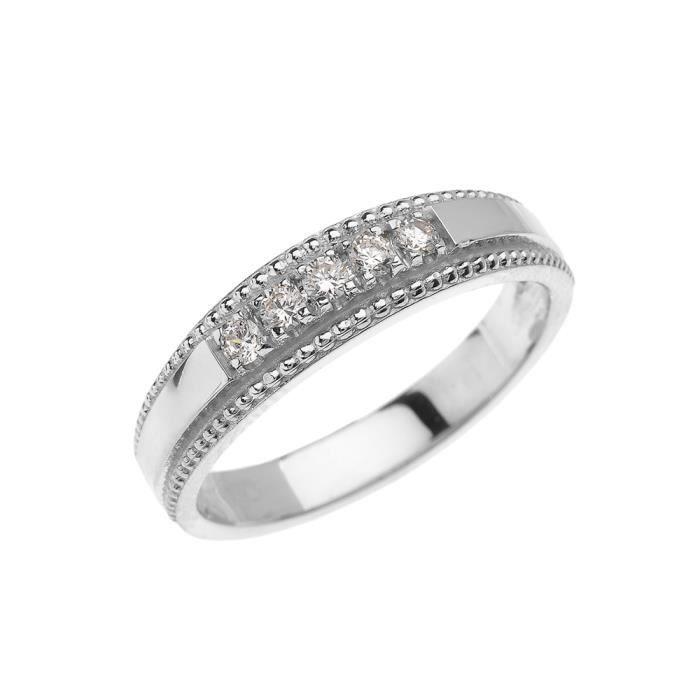 Bague Femme- Alliance 10 Ct Or Blanc Elégant Diamant