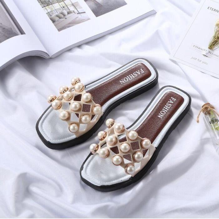 femmes coréennes nouveau plates sandales mode perles dFnfAqxY
