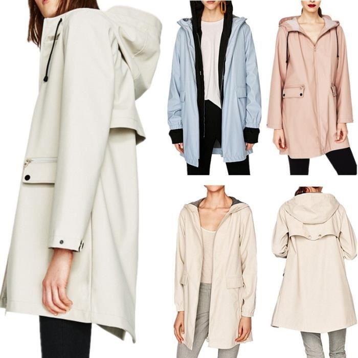 a459c59ed239c Manteau Femme Blanc L de transition imperméable avec capuche longue ...