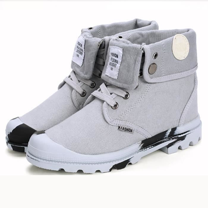 Bottes coréenne style gris plat Skater hommes