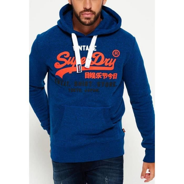 new images of cheap price outlet store sale Sweat capuche Hommes SUPERDRY Bleu - Achat / Vente ...