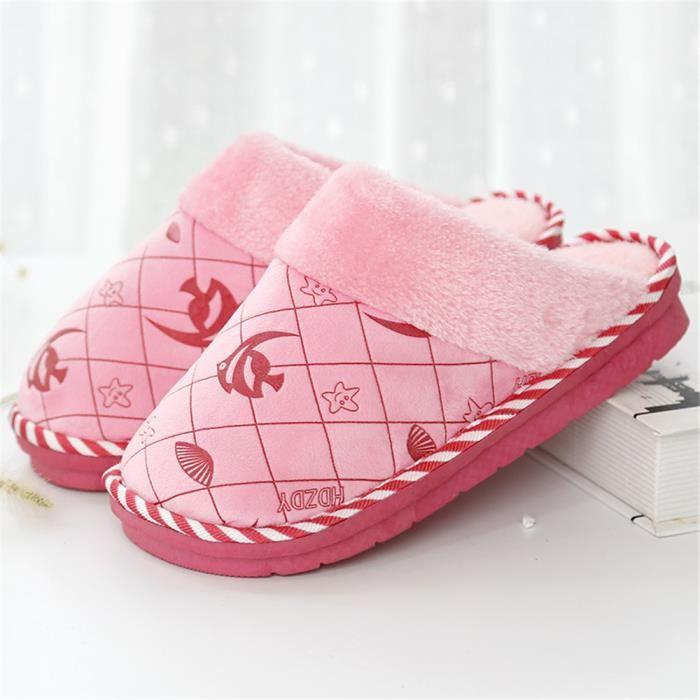 chausson femme branché Classique intérieur pantoufles femmes hiver fantaisie Poids Léger Velours et chausson chaud femme ,rose,38