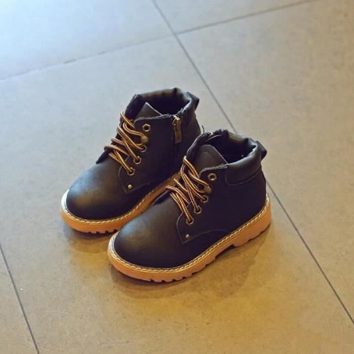 Nouveaux enfants bottes en cuir filles Martin bottes garçons tombent velours slip petites chaussures jaunes