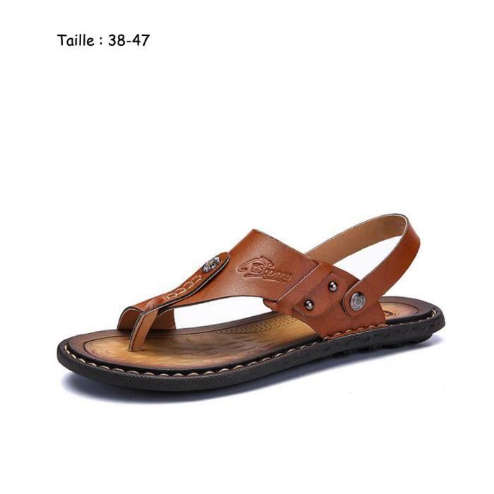 Eté Sandals Hommes Sandales en cuir Mens Casual Chaussures BJOKUT