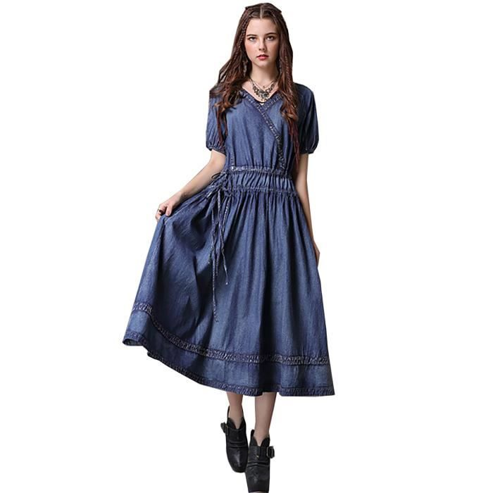 jeans robe longue femme manches courtes élégante coton été nouveau 2018  vintage denim bleu fa27dd8dec3
