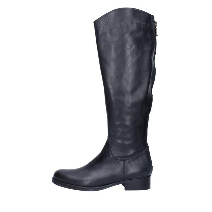 Botte Femme GESTE Cuir Noir Noir Noir - Achat   Vente botte - Soldes ... 3314f7bd95dc