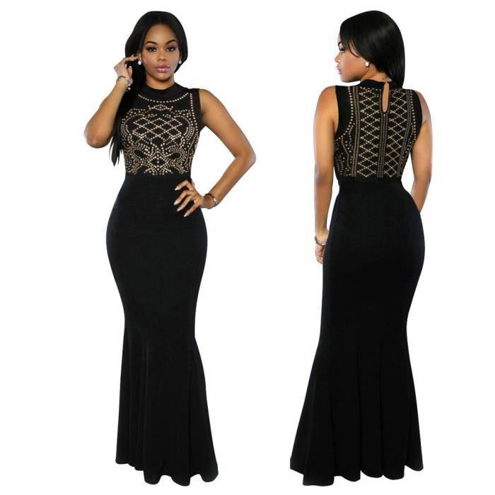 Femmes Robe Longue soirée manches perlage Aménagée Party robe de mode  féminine  Noir 9f1900c55f4e