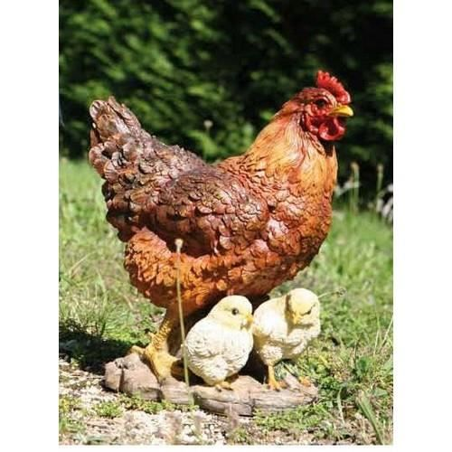Poule avec 2 poussins en r sine 200115 achat vente statue statuette poule avec 2 - Poule decorative pour cuisine ...