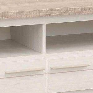 meuble tv meuble tv 2 tiroirs 2 niches frne blanchi pompe