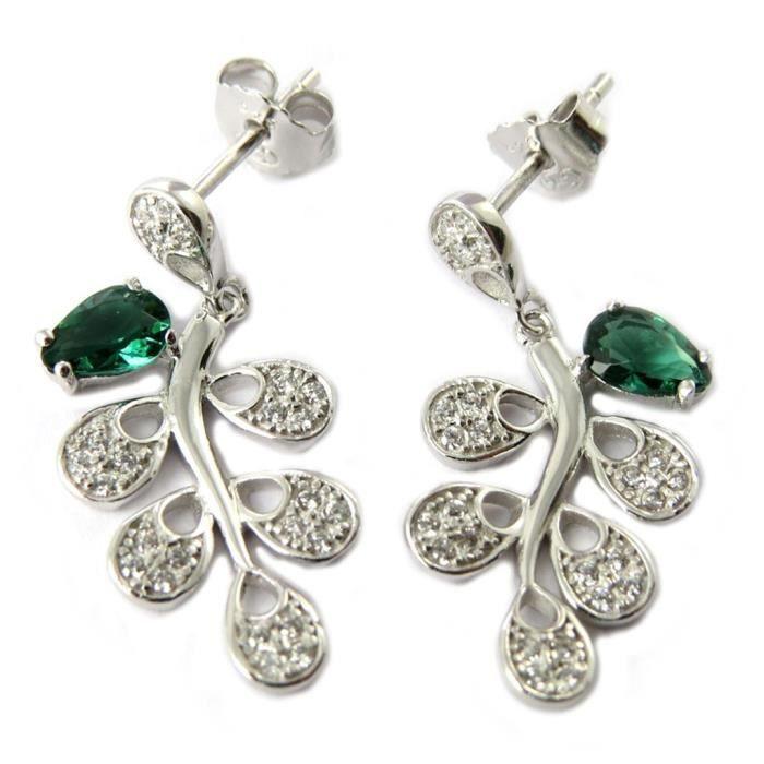 Boucles argent Sissi vert argenté (rhodié)... [P1215]