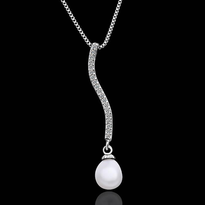 Collier pendentif Plaqué platine 750/00 18K carats Bijou fantaisie haut de gamme Femme Blanc Perle Fleurs Claude