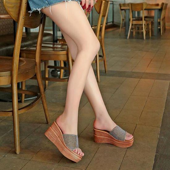 Plateforme Paillettes Solides Fond Peep Femmes épais Plate Sandales Or Toe Compensées L34ARq5j