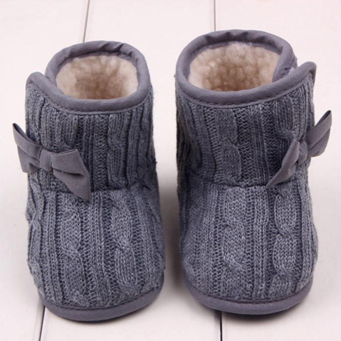 Bb D'hiver Chaudes Chaussures gris Bottes Douce Bowknot Sole qwCBrPq