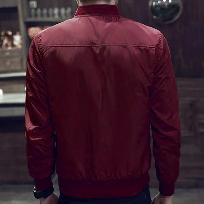 Pardessus Outwear Hiver Hommes Chaud Rouge Zipper Slim Longues Manches Tops Veste Chemisier 6tq1Y